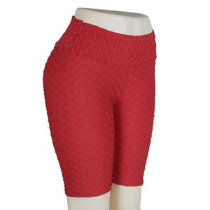 High waisted red workout shorts